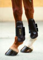 Leather Open Fronted Horse Showjumping boots- front